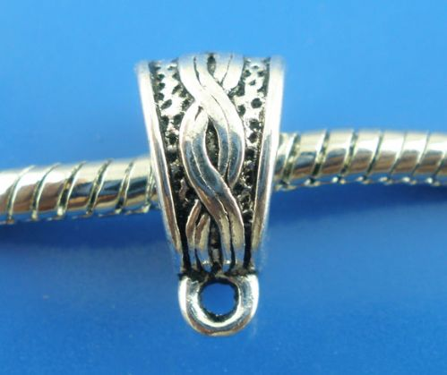 10 Silver Bails Fit European Bracelet 14x7mm